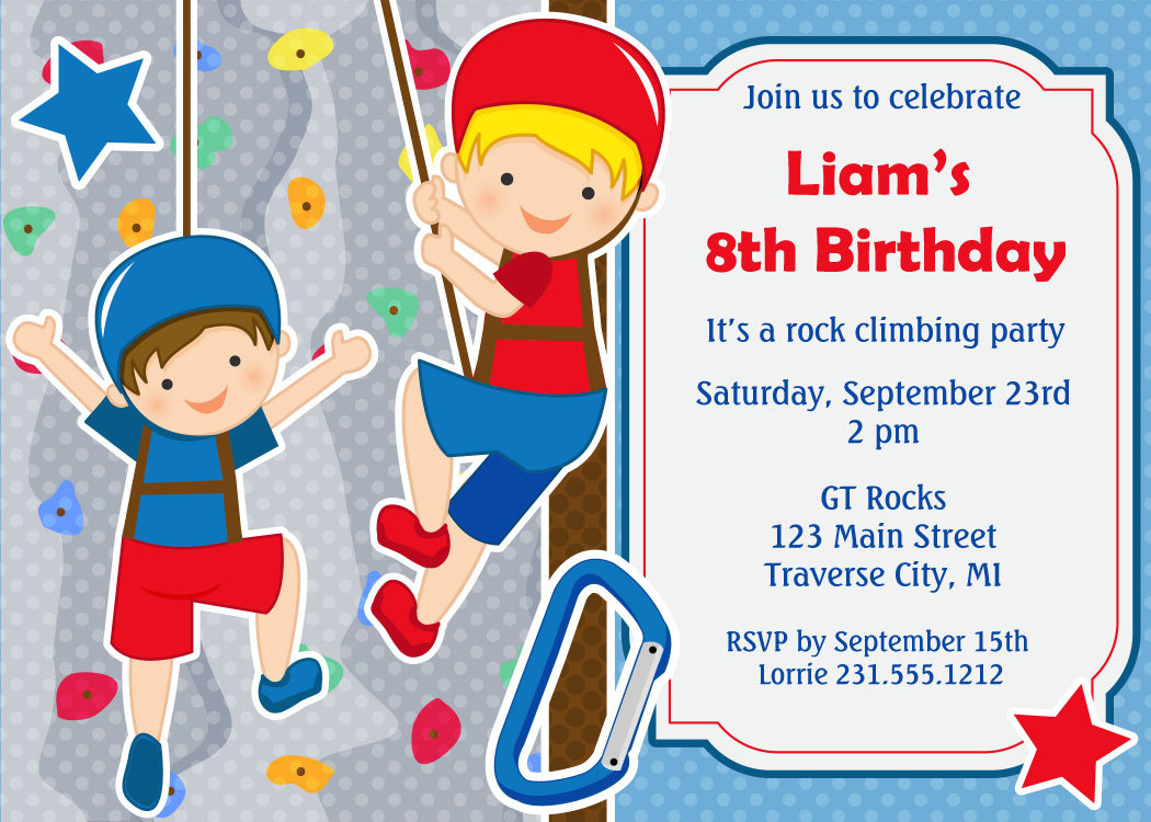 Rock Climbing Birthday Invitation Kids Birthday Party Printable