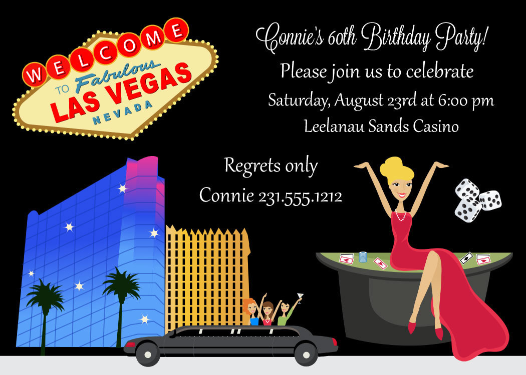 Casino Birthday Invitation - Adult Birthday Party Printable - Las ...