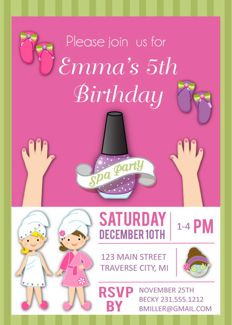 Spa birthday invitation for girls kids birthday spa party invites spa birthday invitation for girls kids birthday spa party invites filmwisefo