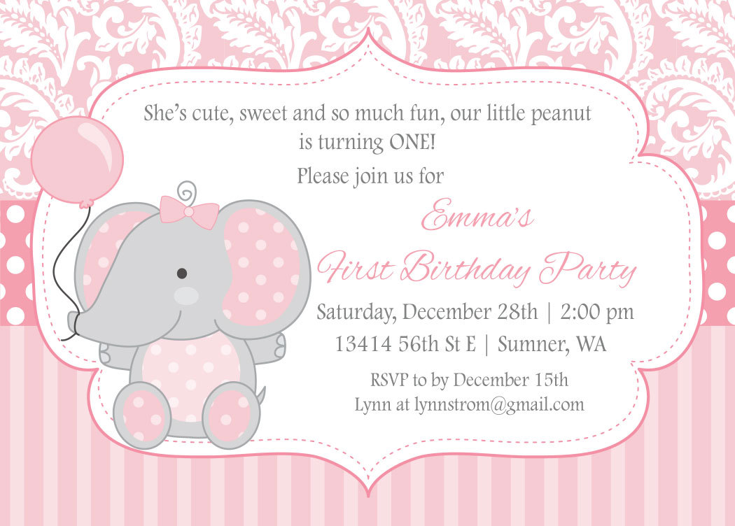 Elephant Birthday Invitation For Girls - Kids First Birthday Party ...