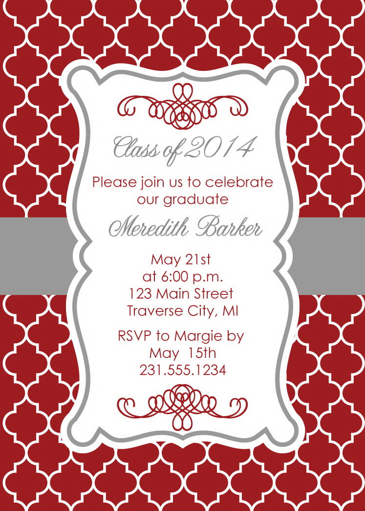 Quatrefoil Graduation Party Invitation For College Or High