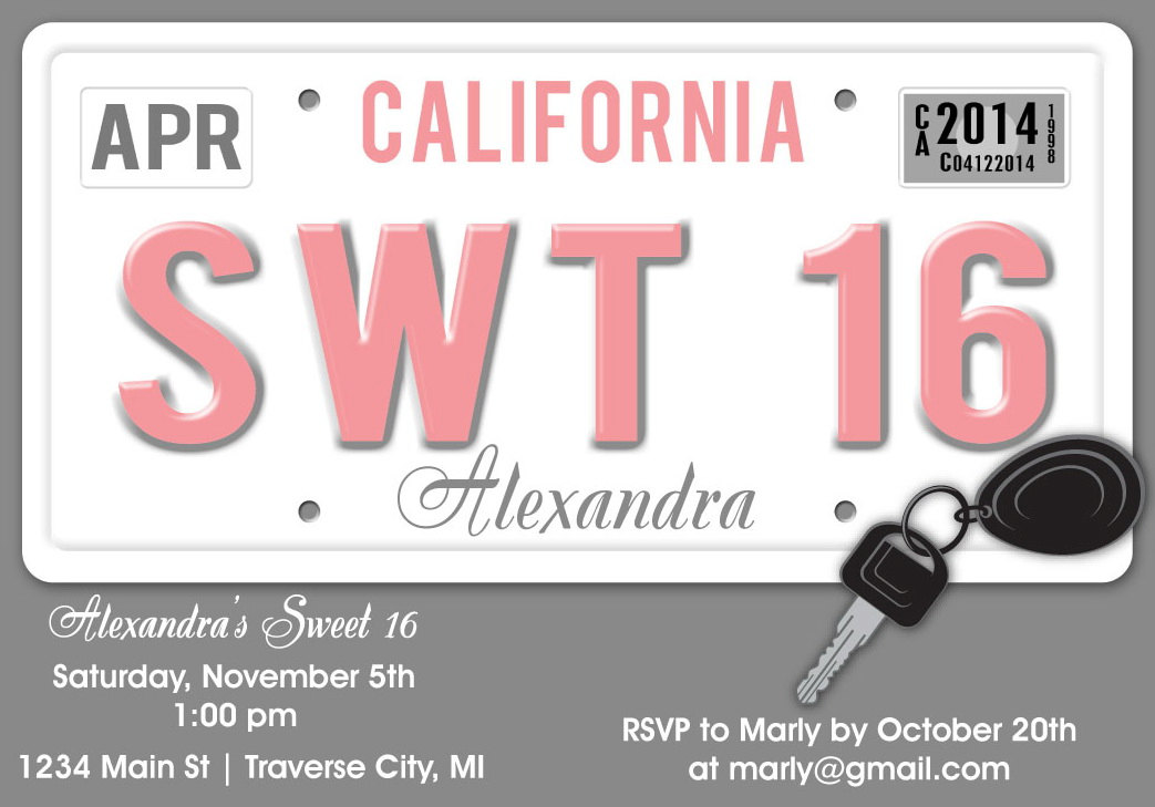 image regarding Printable Sweet 16 Invitations named License Plate Cute 16 Birthday Invitation - One of a kind Adorable 16 Birthday Bash Printable