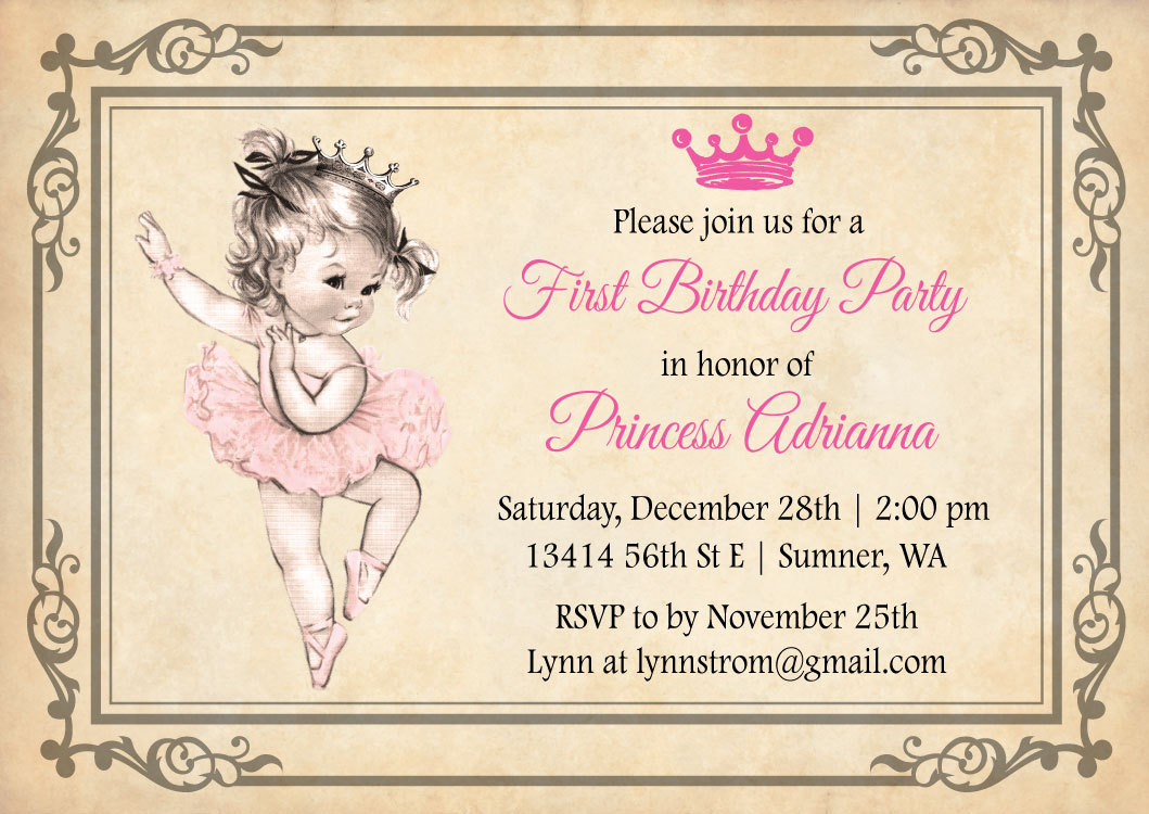 Ballerina Birthday Invitation Princess First Birthday Girl - Vintage girl birthday invitation