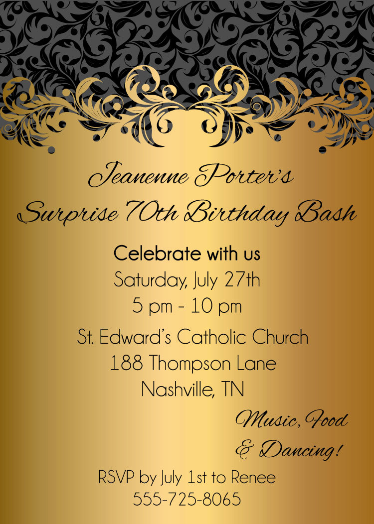 Gold Ornate Adult Birthday Party Invitations - Digital File on Luulla