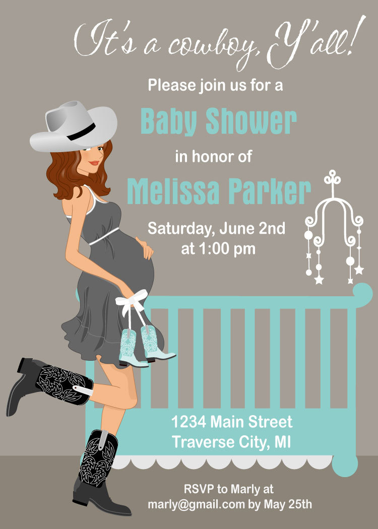 Cowboy Baby Shower Invitations   Country Western Crib Theme For A Boy    Digital File Available