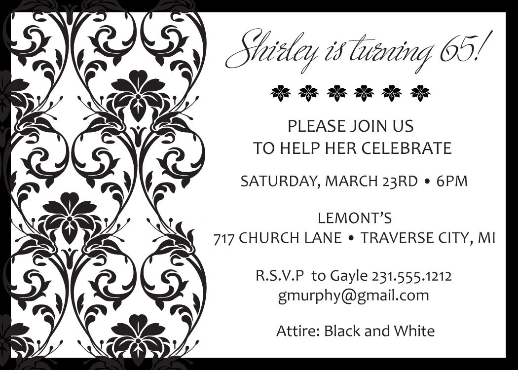 Ornate Damask Birthday Invitations Adult Birthday Party