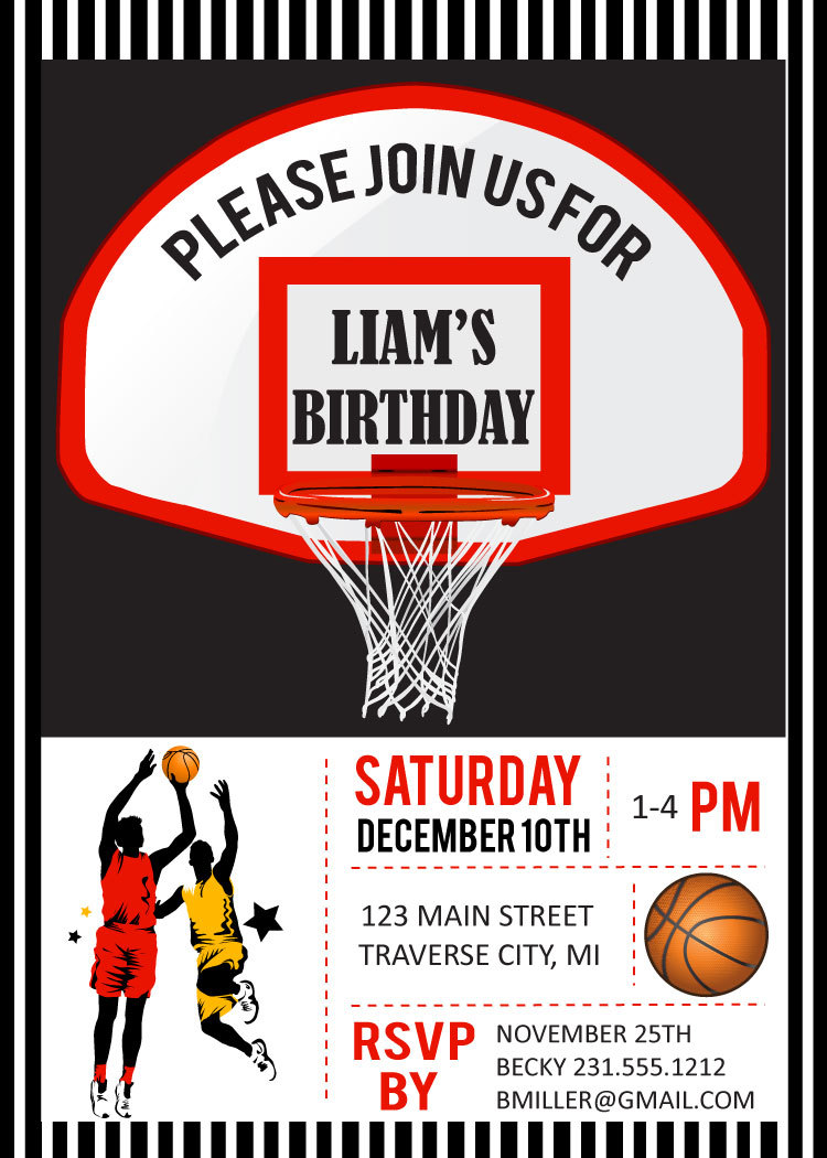 Basketball Birthday Party Invitations Digital File DIY Printable – Basketball Birthday Invitations