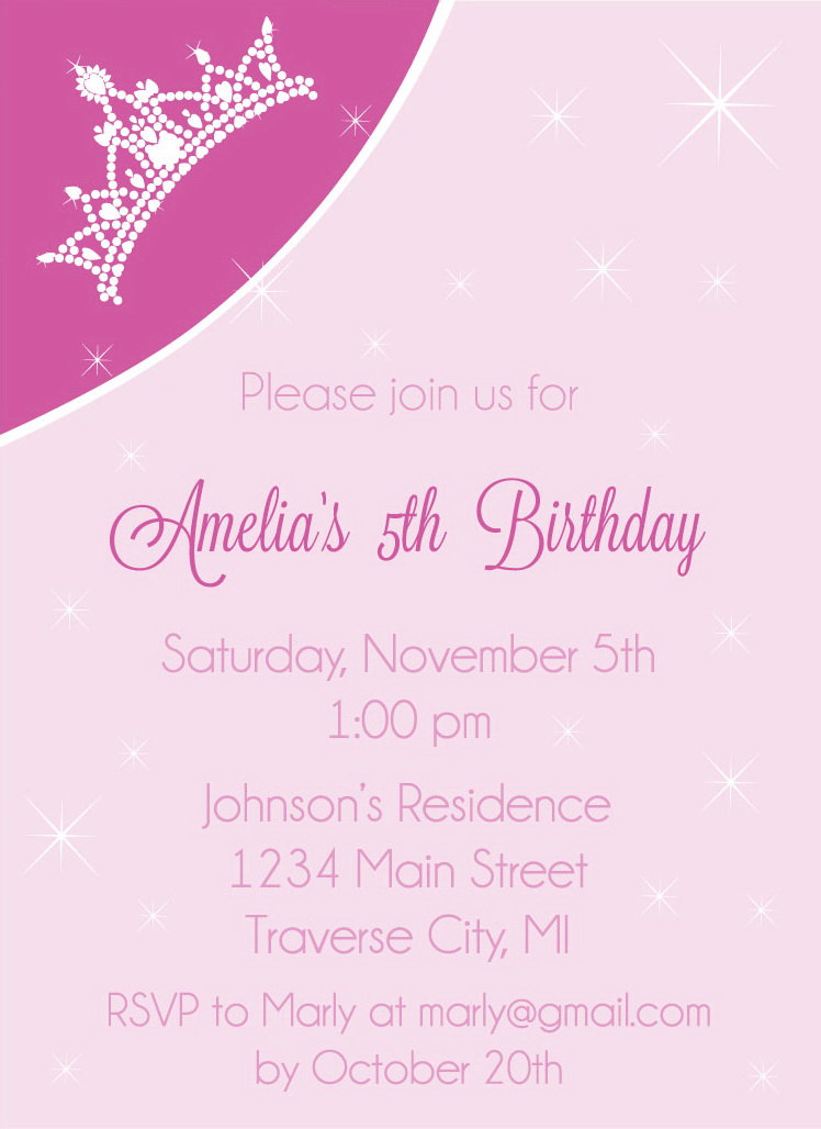 Crown Birthday Party Invitations - Princess Kids Invites Digital ...