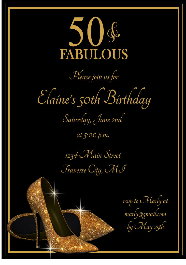 Gold Glitter Shoes Adult Birthday Party Invitations Printable