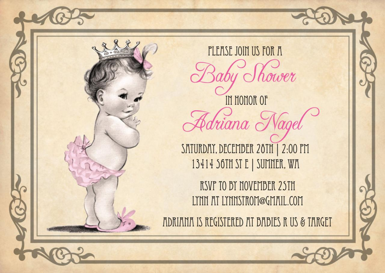 Princess Girl Baby Shower Invitations - Vintage Princess on Luulla