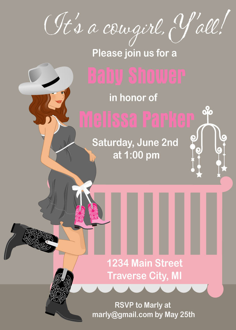 Cowgirl Baby Shower Invitations - Western Theme - Available In ...