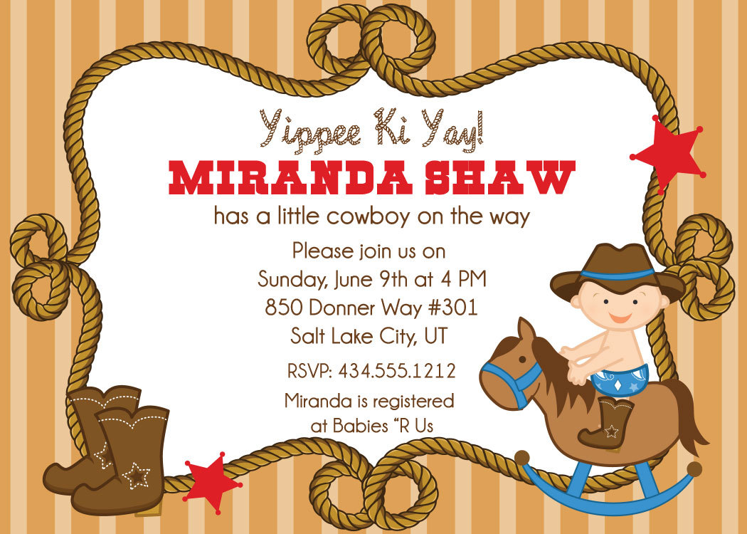 Cowboy Baby Shower Invitations On Luulla