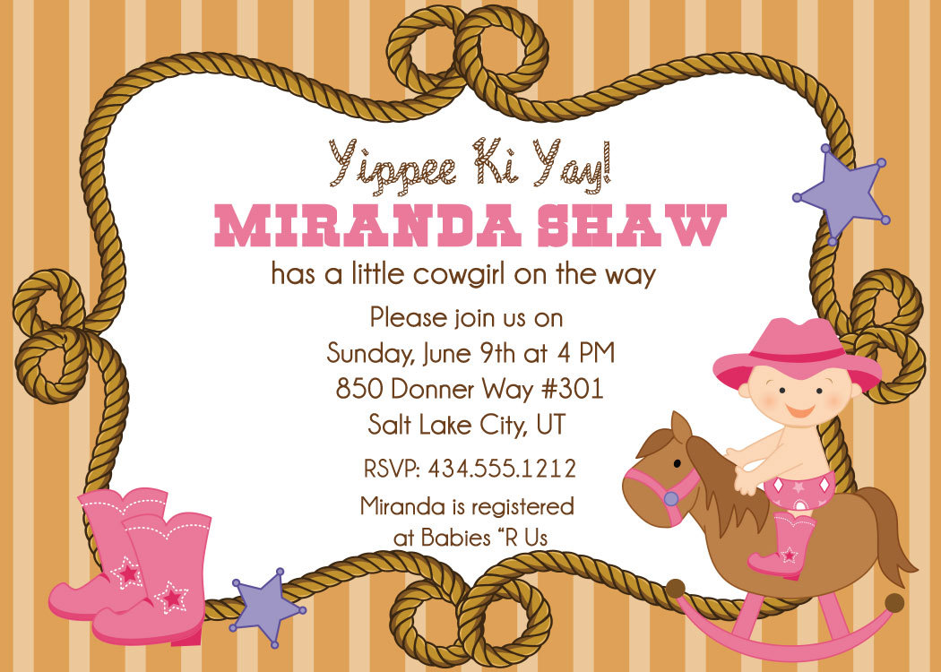 Cowgirl Baby Shower Invitations on Luulla