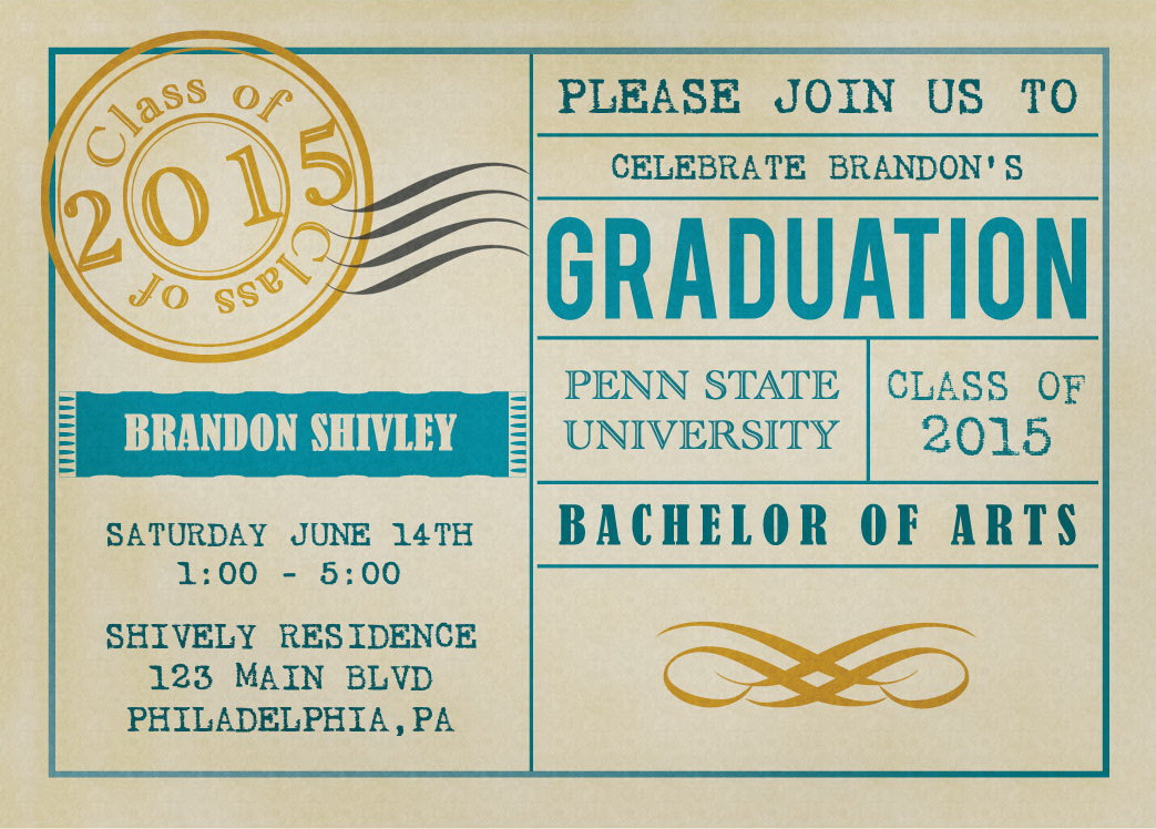 Vintage Postcard Graduation Party Invitations