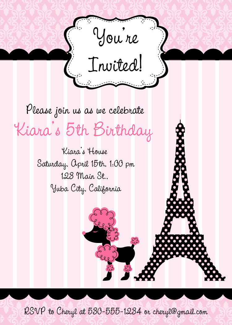 Pink Poodle In Paris Birthday Invitations