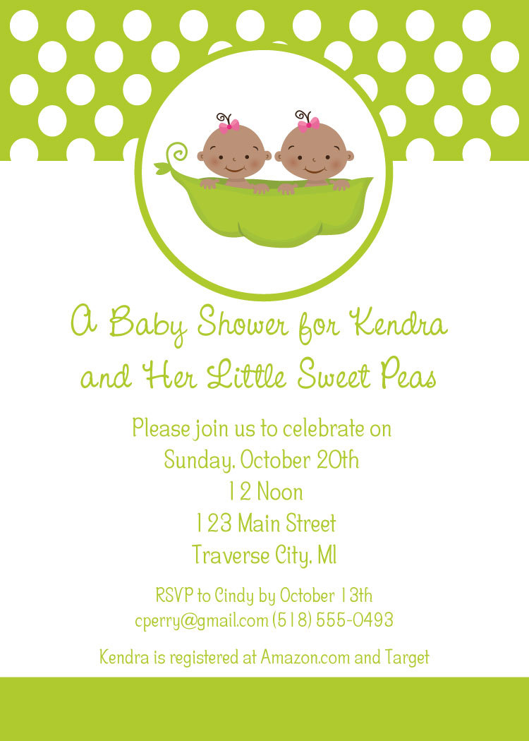 Sweet Pea Twins Baby Shower Invitations - Little Sweet Pea Theme ...