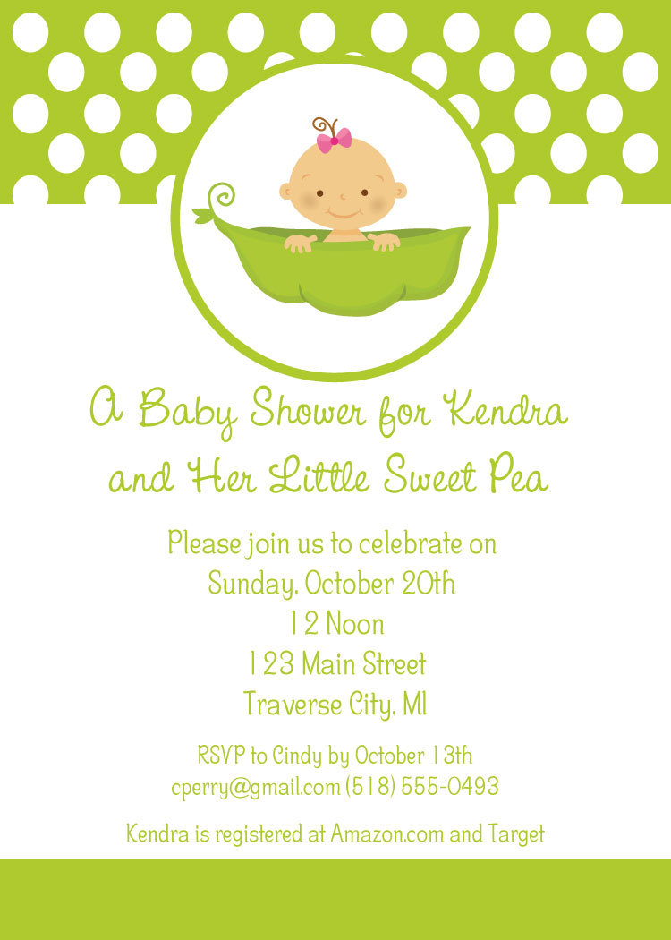 Sweet Pea Baby Shower Invitations   Little Sweet Pea Theme Invites Digital  File DIY Printable Card