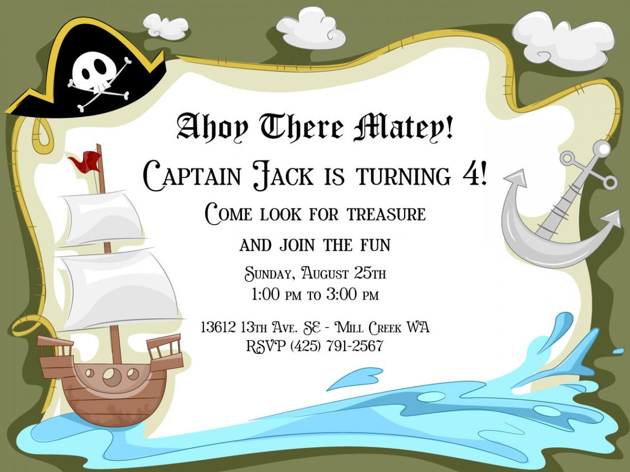 Pirate Birthday Party Invitations Kids Pirate Theme Digital File – Kids Pirate Party Invitations