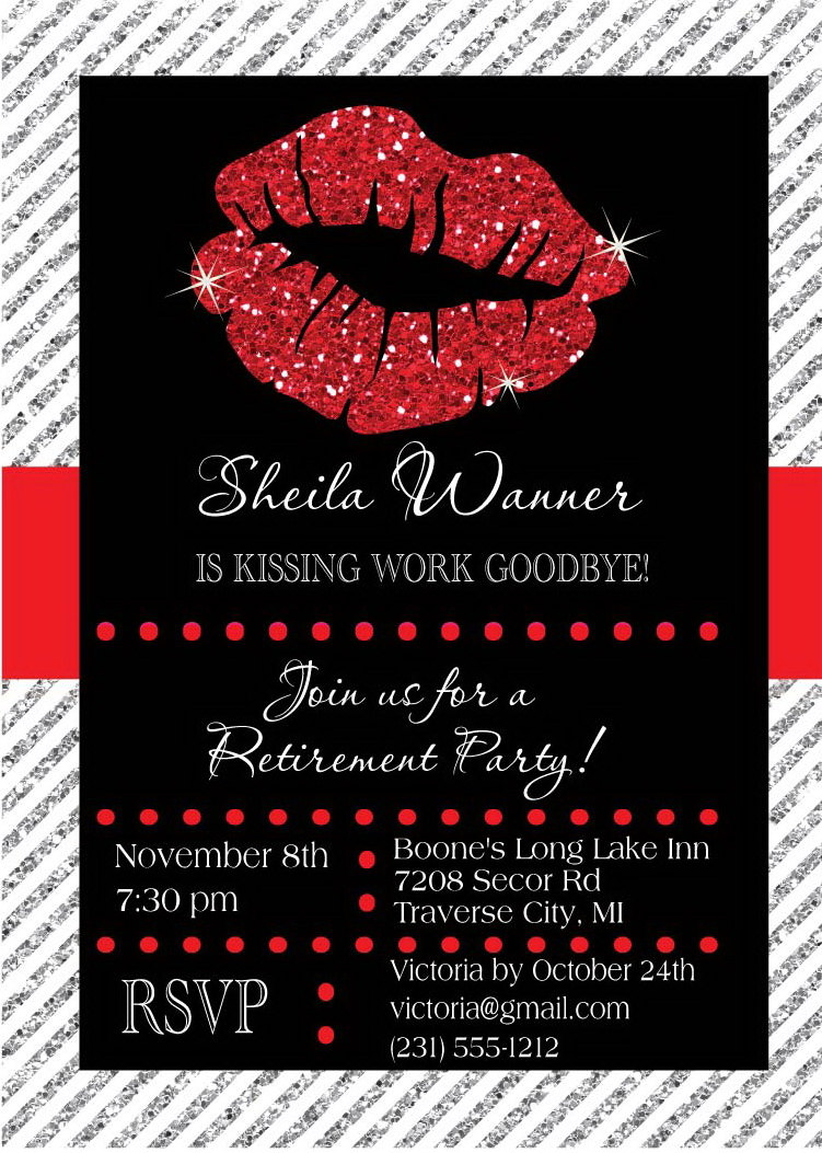 Retirement Invitation - Kissing Work Goodbye Retirement Party ...