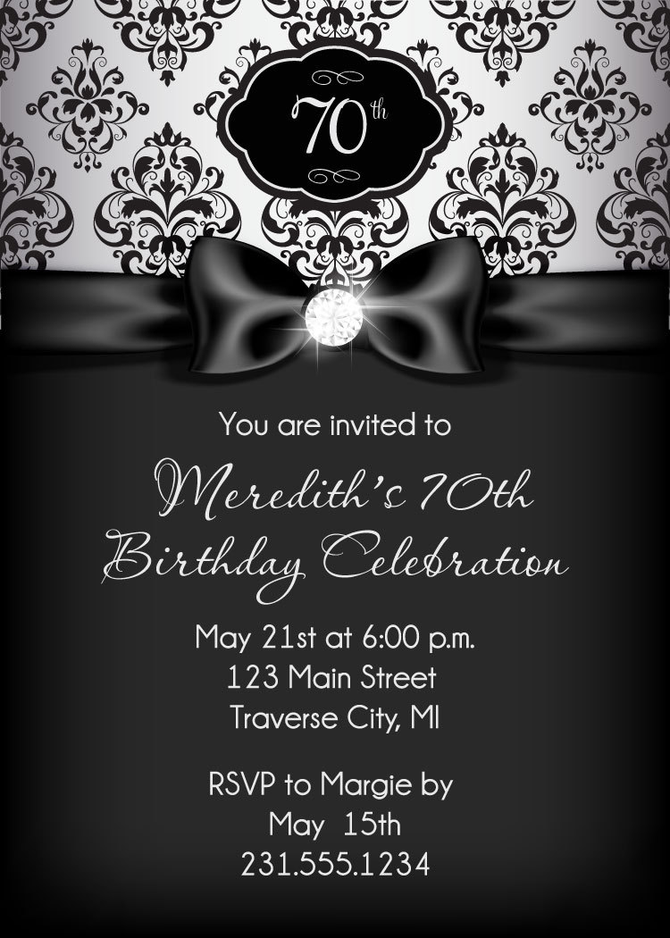 Diamond Birthday Invitation - Adult Birthday Party Invitation ...
