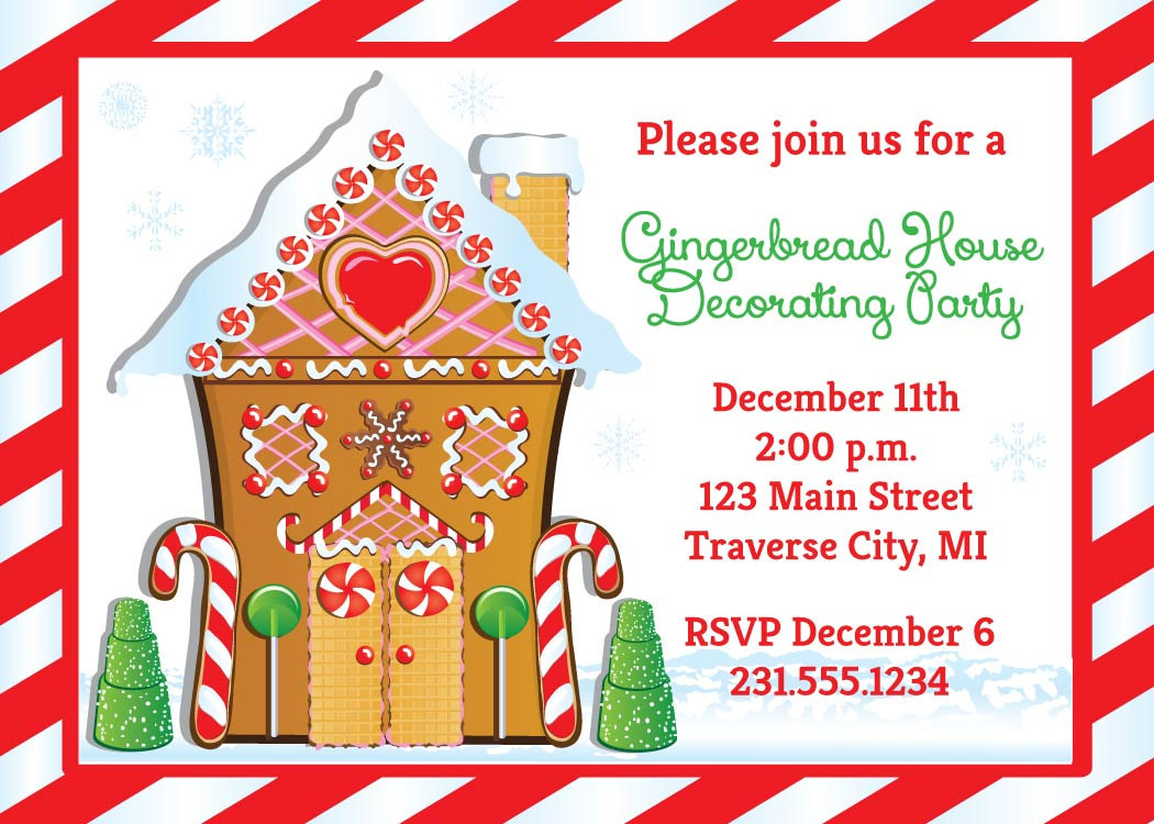 Gingerbread House Invitation Christmas Decorating Party on Luulla – Gingerbread Party Invitations
