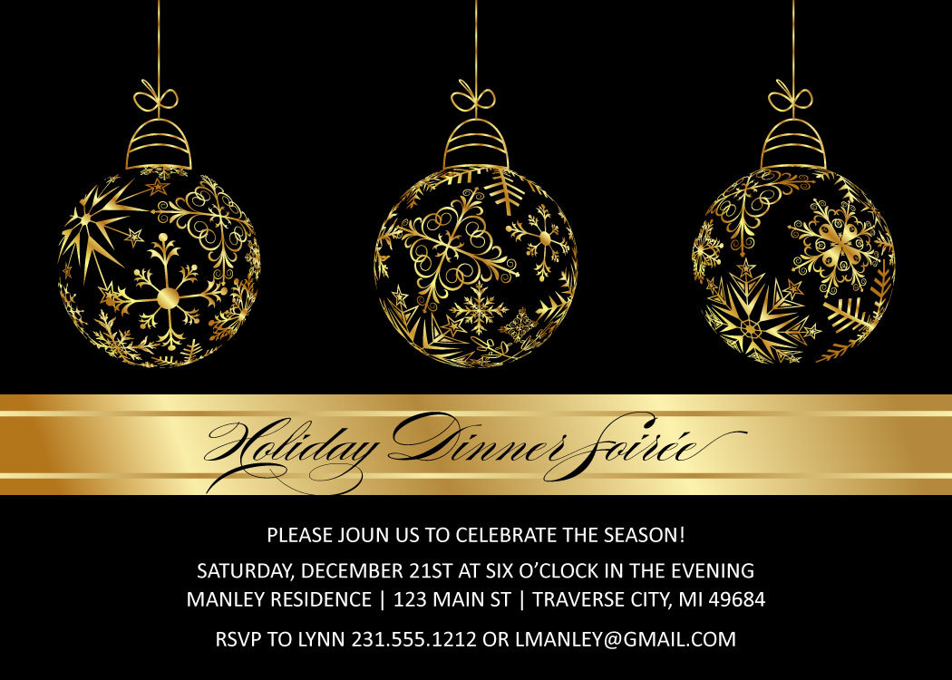 gold bulbs christmas invitations elegant christmas party printables