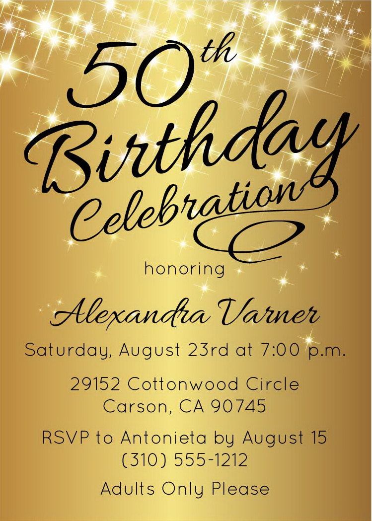 50th Birthday Invitation O Printable Gold Stars Invites