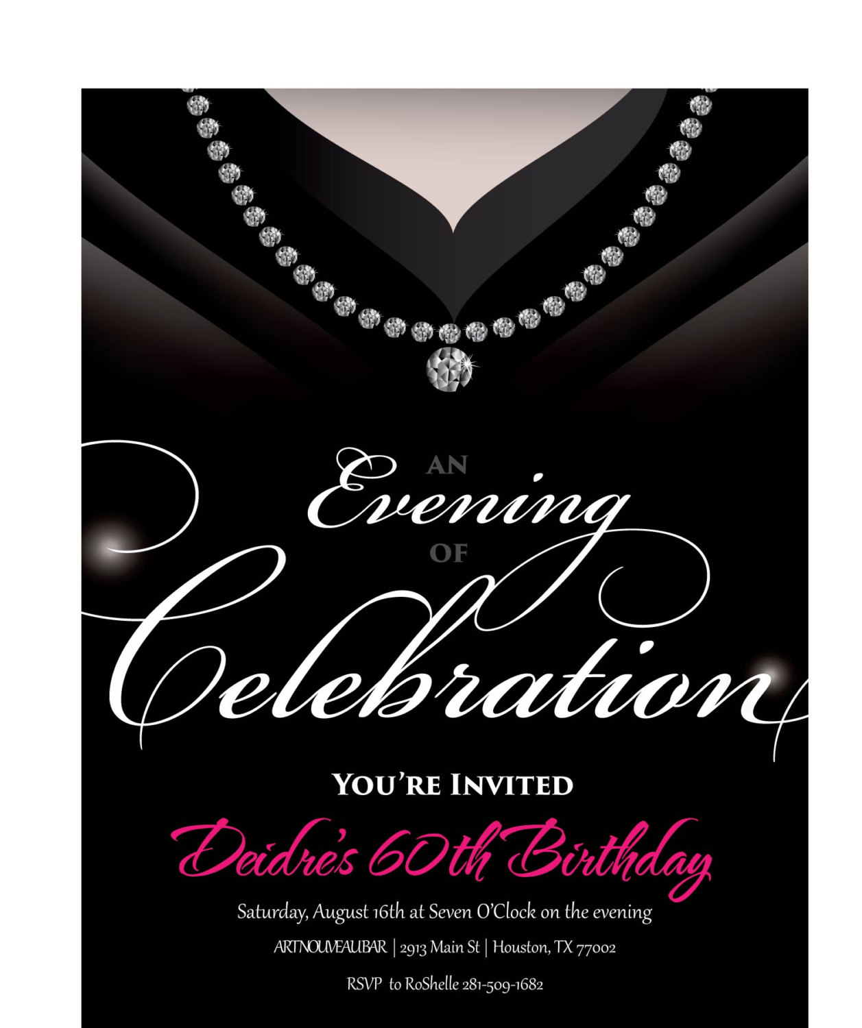 Gown Invitation O Birthday Party Invite For Women Unique And Classy Adult Invitations