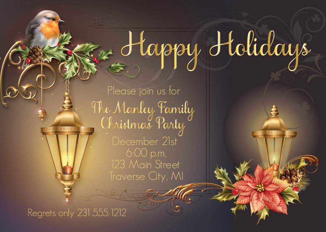 Lantern Christmas Invitation, Corporate Holiday Party Invite, Office ...
