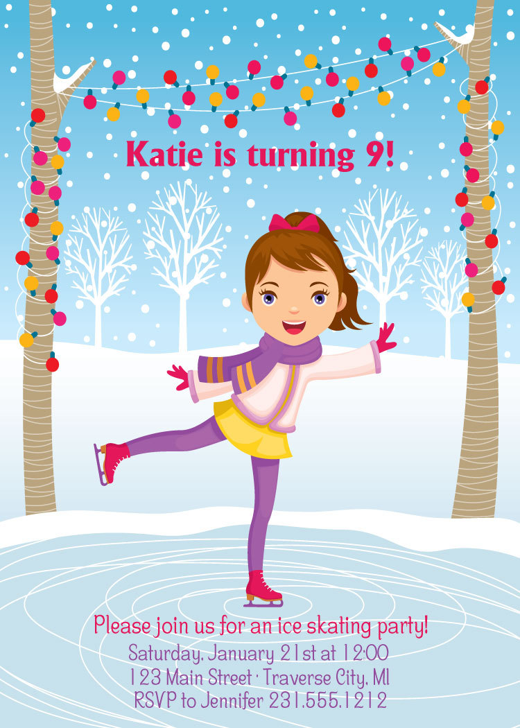 Ice Skating Invitation - Girls Birthday Party Invite - Choose Your ...