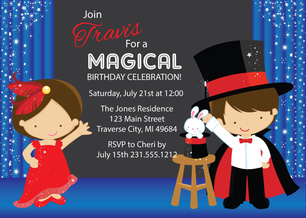 Magic Show Invitation Kids Birthday Invitation Printable On Luulla