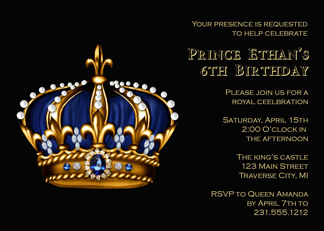 Prince birthday invitation gold crown for royal king kids prince birthday invitation gold crown for royal king kids birthday party invitation stopboris Images