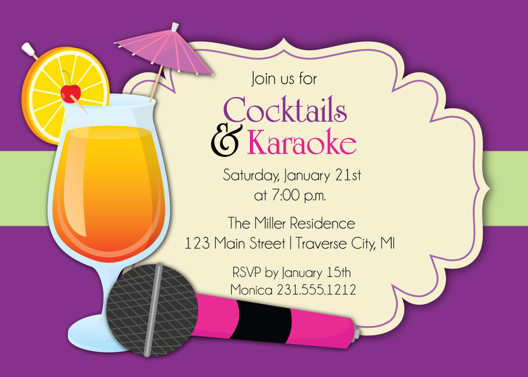 Karaoke Invitation Cocktails Karaoke Party Invite For Adults