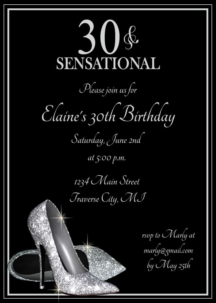 Silver Glitter Shoes Adult Birthday Party Invitations - Digital ...