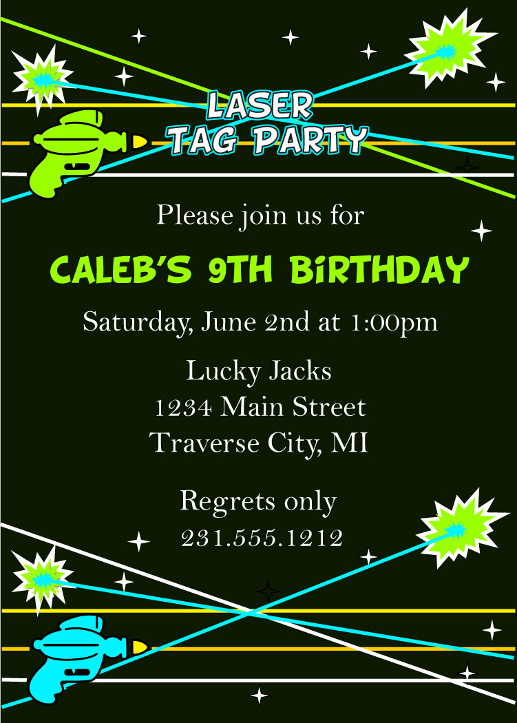 Laser Tag Birthday Invitations - Laser Tag Party Invitation on Luulla