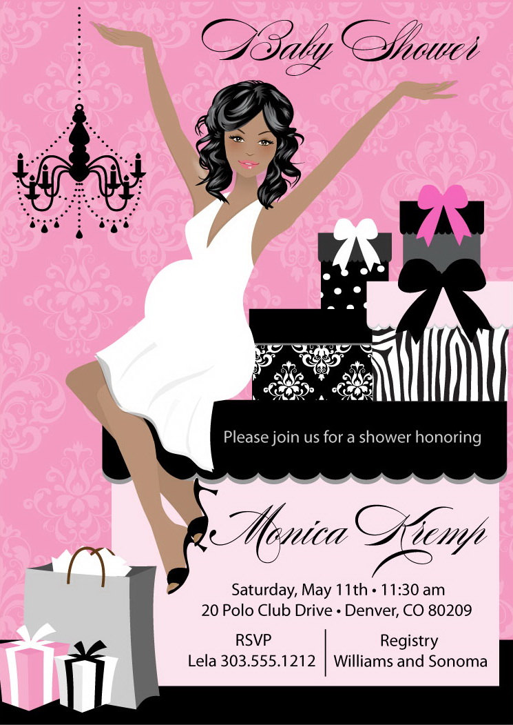 Elegant Baby Shower Invitation Choose Skin And Hair Colors on Luulla